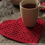 Large Heart crochet coasters