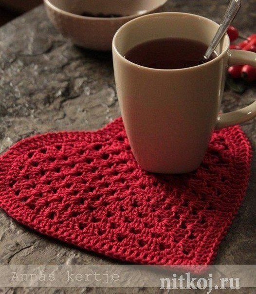 prett heart crochet coaster pattern