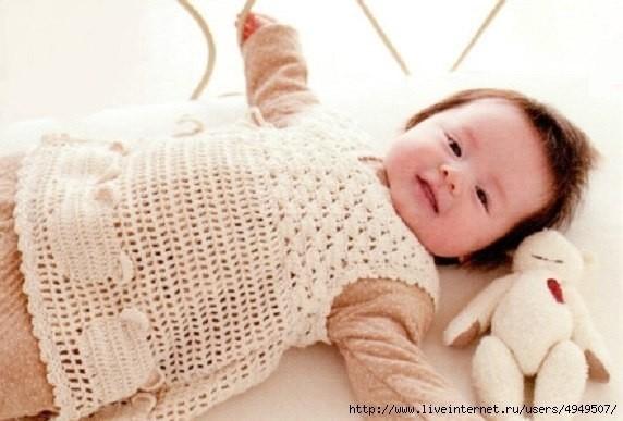 teddy bear motif crochet baby dress pattern 1