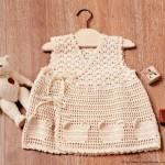 Teddy bear motif crochet baby dress pattern
