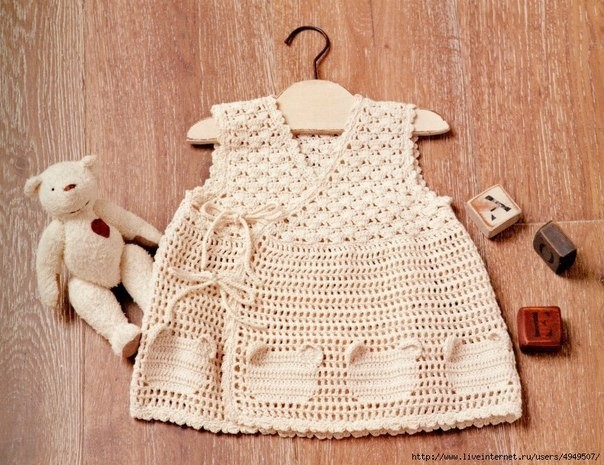 Teddy Bear Motif Crochet Baby Dress Pattern ⋆ Crochet Kingdom