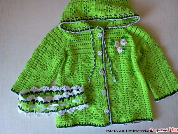 cotton jacket and headband for girls free crochet 1