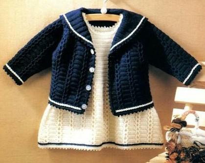 crochet jacket, dress and pants