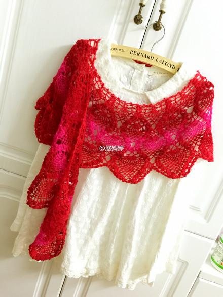 Crochet pineapple flower shawl scarves