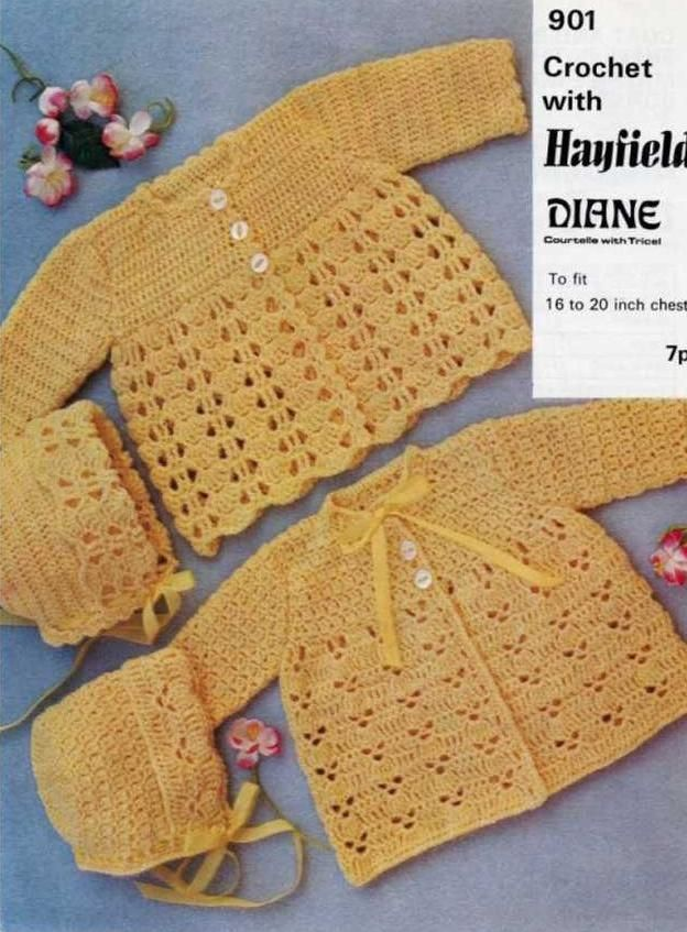 Crochet matinee jacket in shell pattern