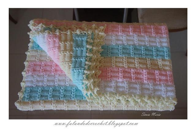 Interesting Textured Striped Crochet Baby Blanket 1