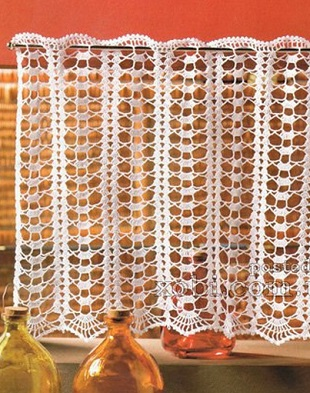 Openwork crocheted curtains