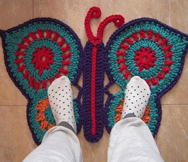 Pad Butterfly Nursery crocheted rug