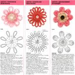 Three Flower Crochet Diagrams