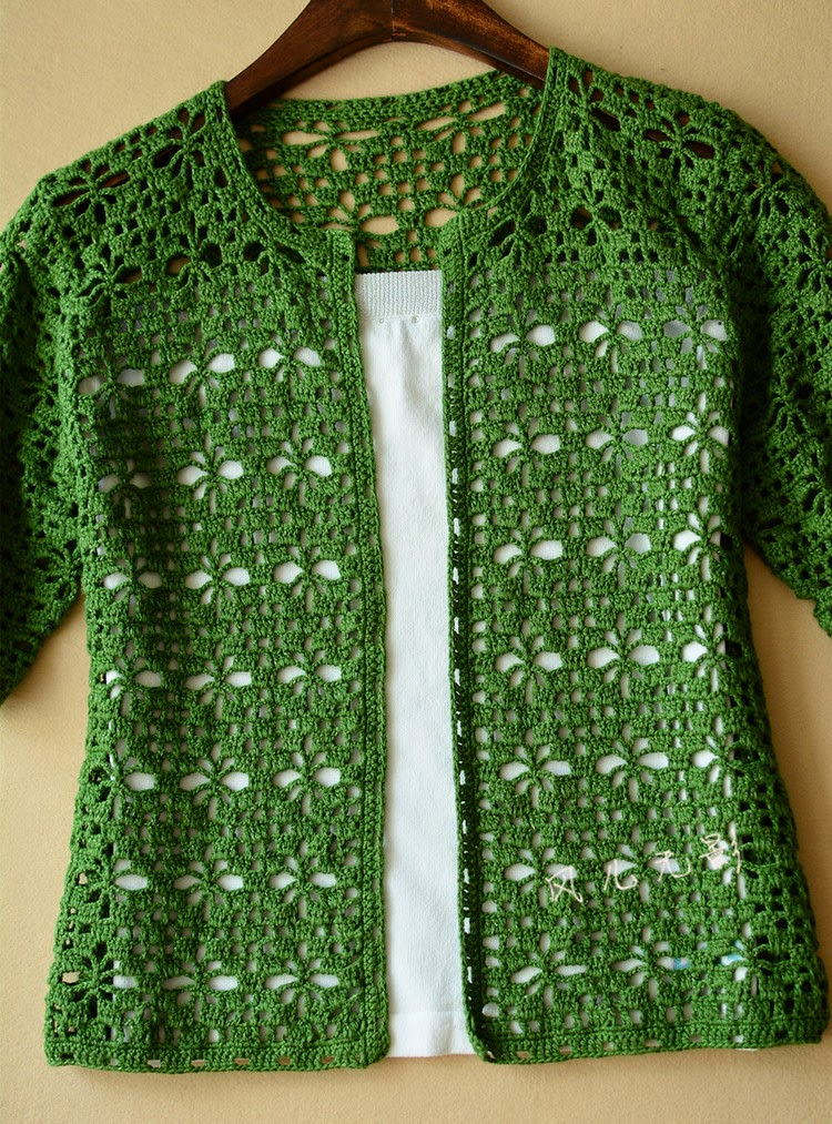 Green crochet cardigan 1