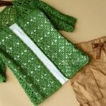 Green crochet cardigan