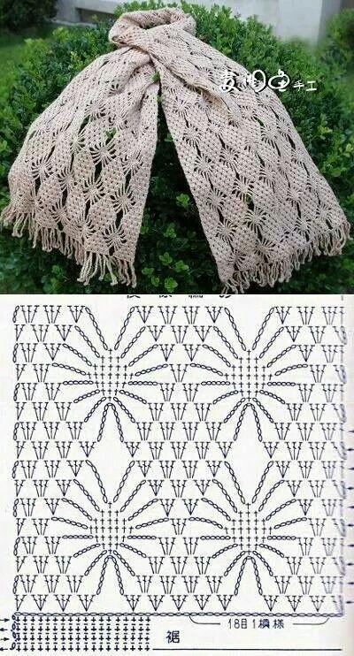 diamon stitch crochet scarf pattern