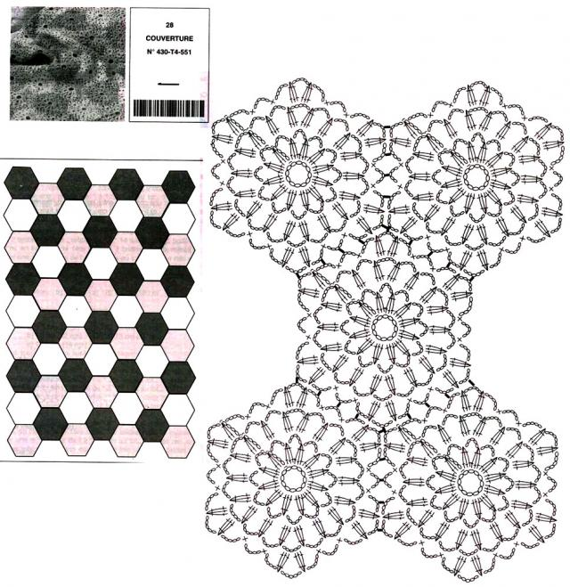 hexagonal blanket crochet diagram 1