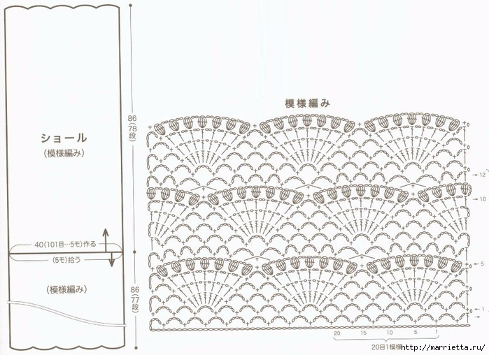 large fan stitch shawl crochet pattern  u22c6 crochet kingdom