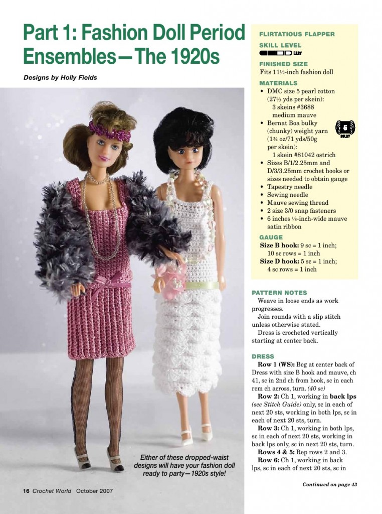 20\'s Flapper Dress for Barbie Free Crochet Pattern ⋆ Crochet Kingdom