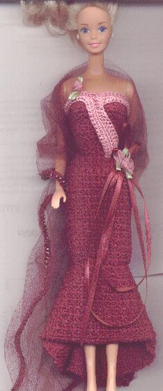 50's Swinging Evening Gown for Barbie Free Crochet Clothes Pattern