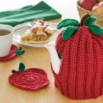 Apple Tea Cozy & Coasters Free Crochet Pattern