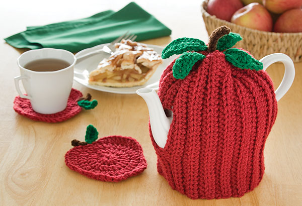 Apple Tea Cozy Coasters Free Crochet Pattern Crochet Kingdom