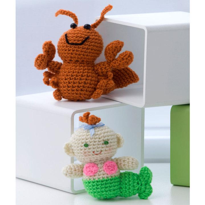 Crochet Little Lobster & Baby Mermaid amigurumi pattern