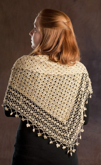 Crocheted Shawl with Sequins