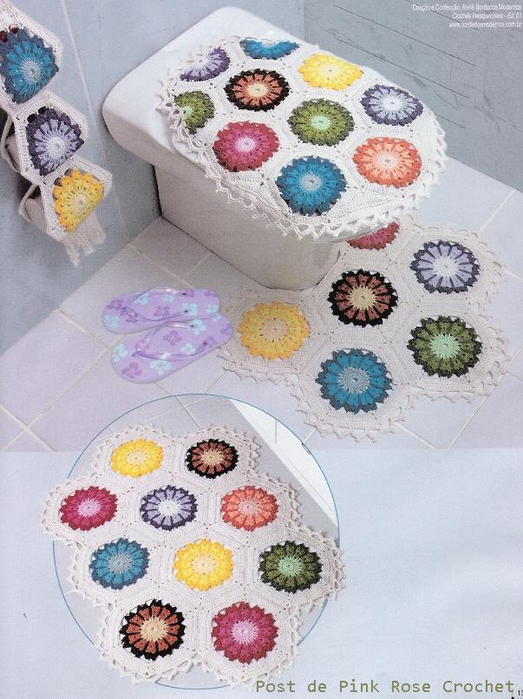Crochet bathroom sets crochet kingdom 3 free crochet for Pataka bano food mat