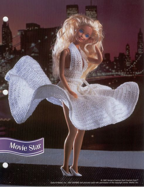 Movie Star White Dress For Barbie Free Crochet Pattern Crochet