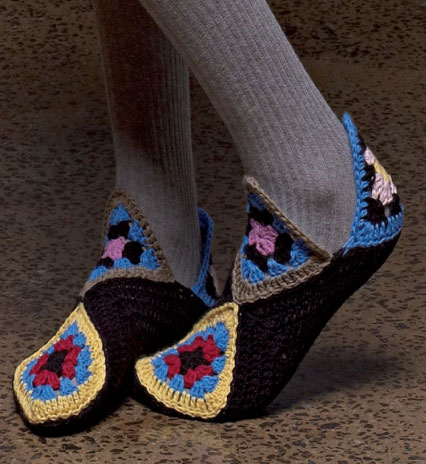 Crochet Pattern For Granny Square Slippers : Patons Granny Square Slippers Free Crochet Pattern ...