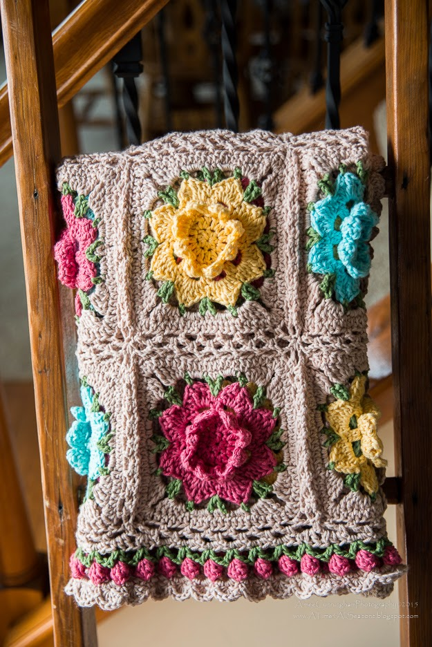 Rebekahs Flower Square Motif Afghan Crochet Kingdom