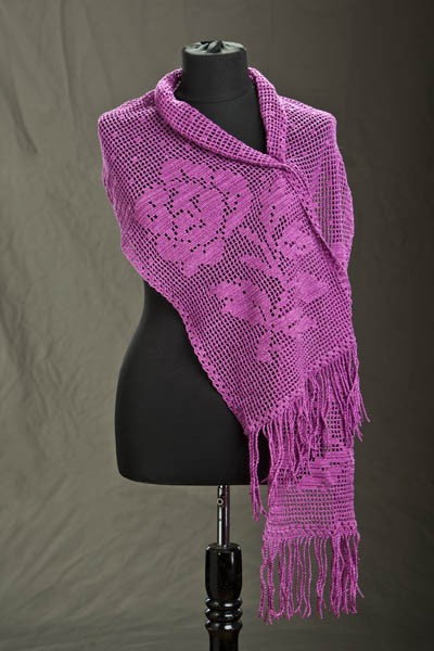 Winter Rose Filet Wrap Free Crochet