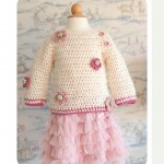 Baby sweater flower crochet pattern