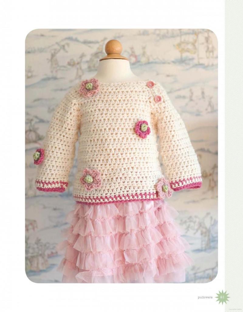 Baby sweater flower crochet pattern