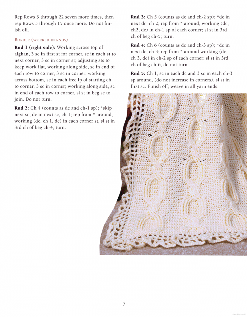 cabled baby crochet afghan pattern 3