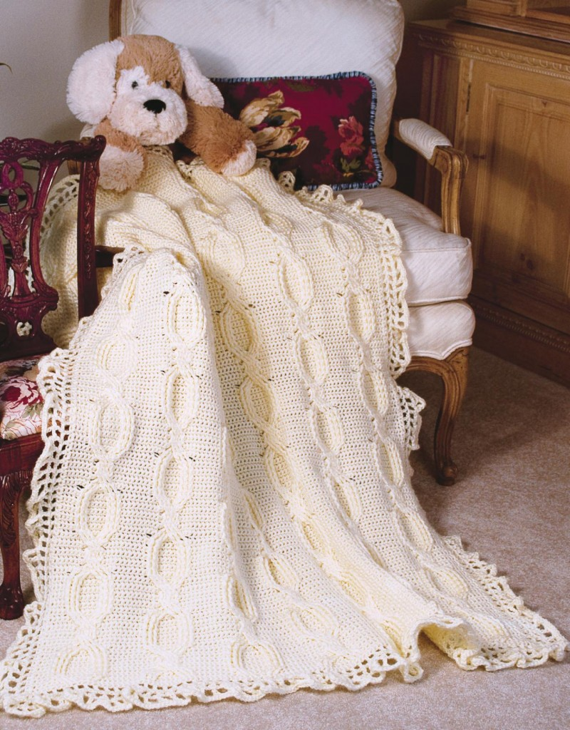 Cabled baby crochet afghan pattern