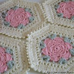 Flower hexagon crochet motif - Diagram ONLY