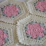 Flower hexagon crochet motif - Diagram ONLY
