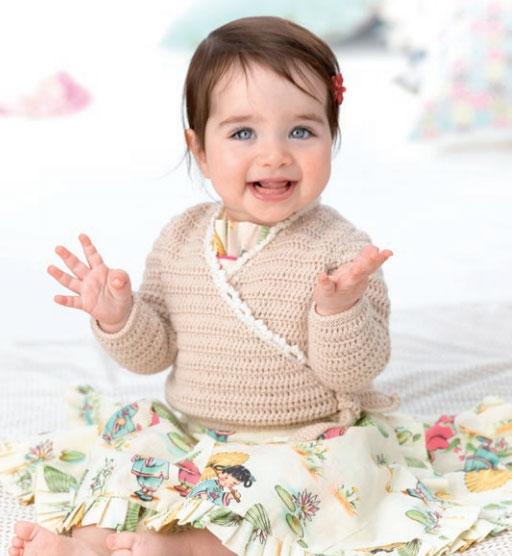 Free Patons Baby Kimono Crochet Cardigan Pattern ⋆ Crochet
