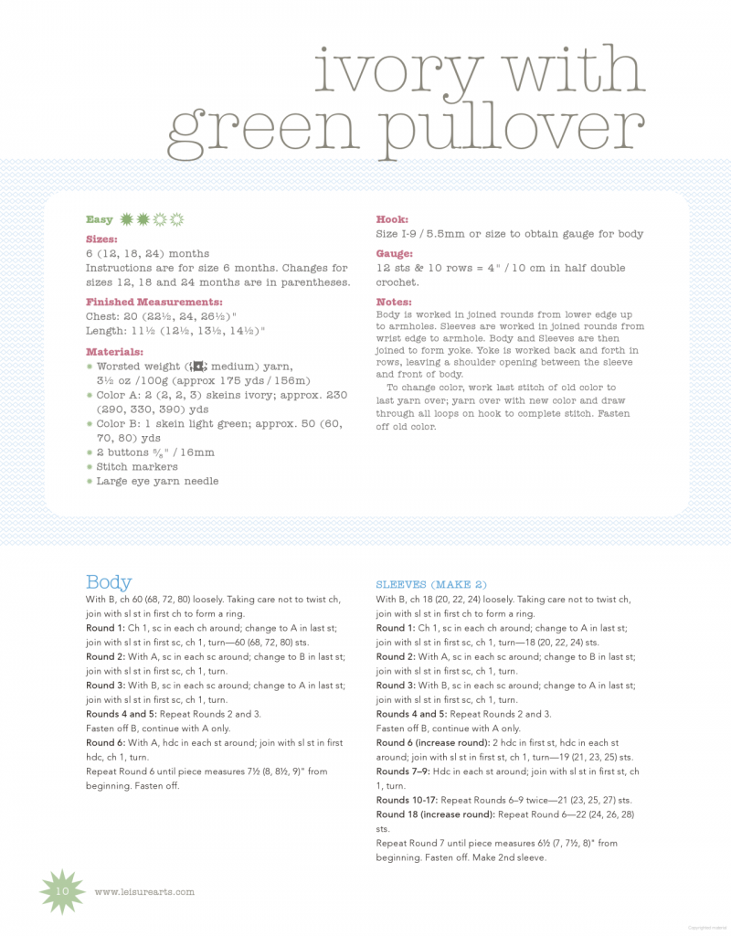 ivory green baby crochet pullover pattern 1