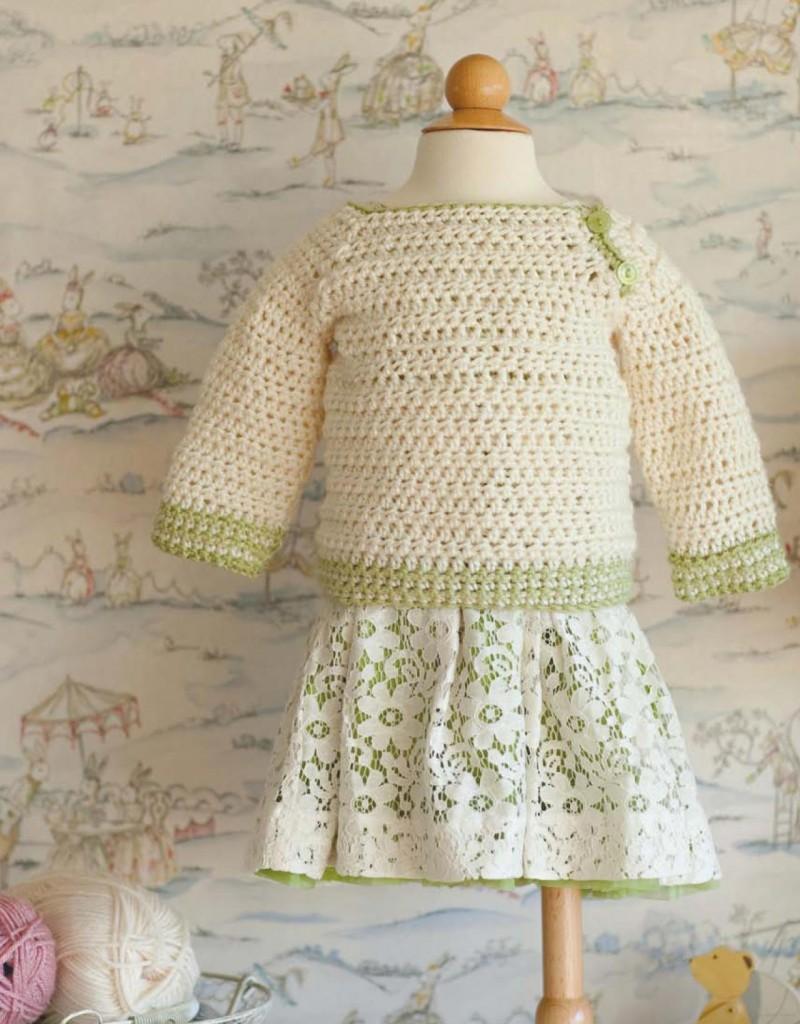 ivory green baby crochet pullover pattern