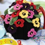 Crocheted Pansy Tea Cosy Free Pattern