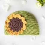 Sunflower baby hat crochet pattern