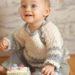 White and gray baby sweater pattern crochet