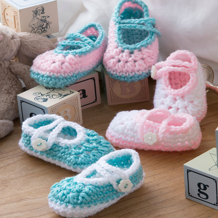 Two-Color Baby Booties Free Crochet Baby Pattern