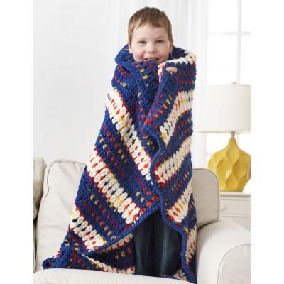Woven-Look Striped Child's Blanket Crochet Pattern