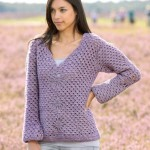 Diamond Motif Crochet Sweater Free Pattern