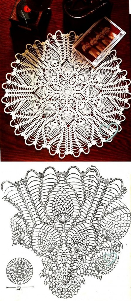 free pineapple doily diagram