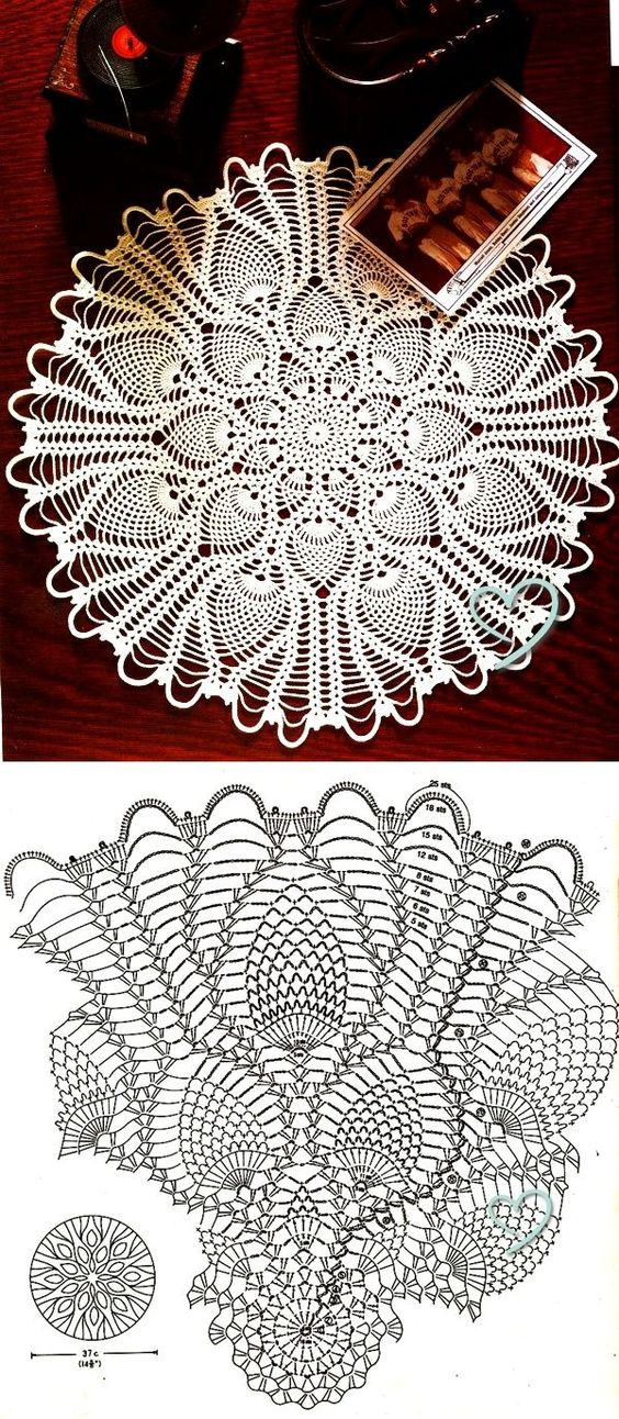 Round Pineapple Doily Diagram  U22c6 Crochet Kingdom