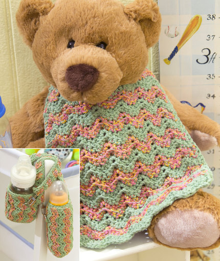 Baby Bottle Cozy & Bib free crochet set pattern