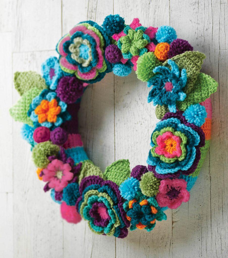 Crochet Flower Wreath Free Crochet Pattern