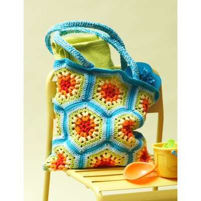 Rainbow Hexagon Beach Bag Free Crochet Pattern
