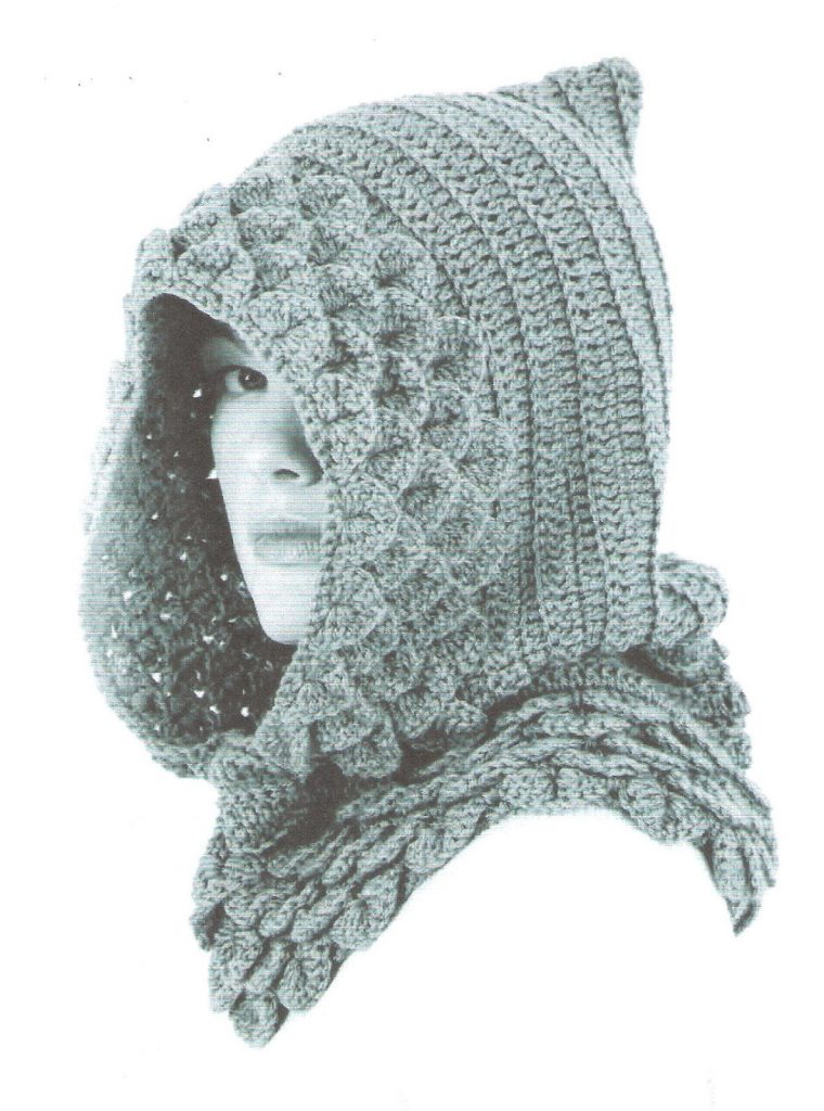 Crocodile stitch hood crochet pattern